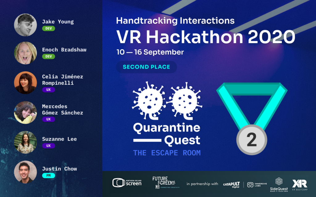 Hand-tracking VR hackathon where we get the second place
